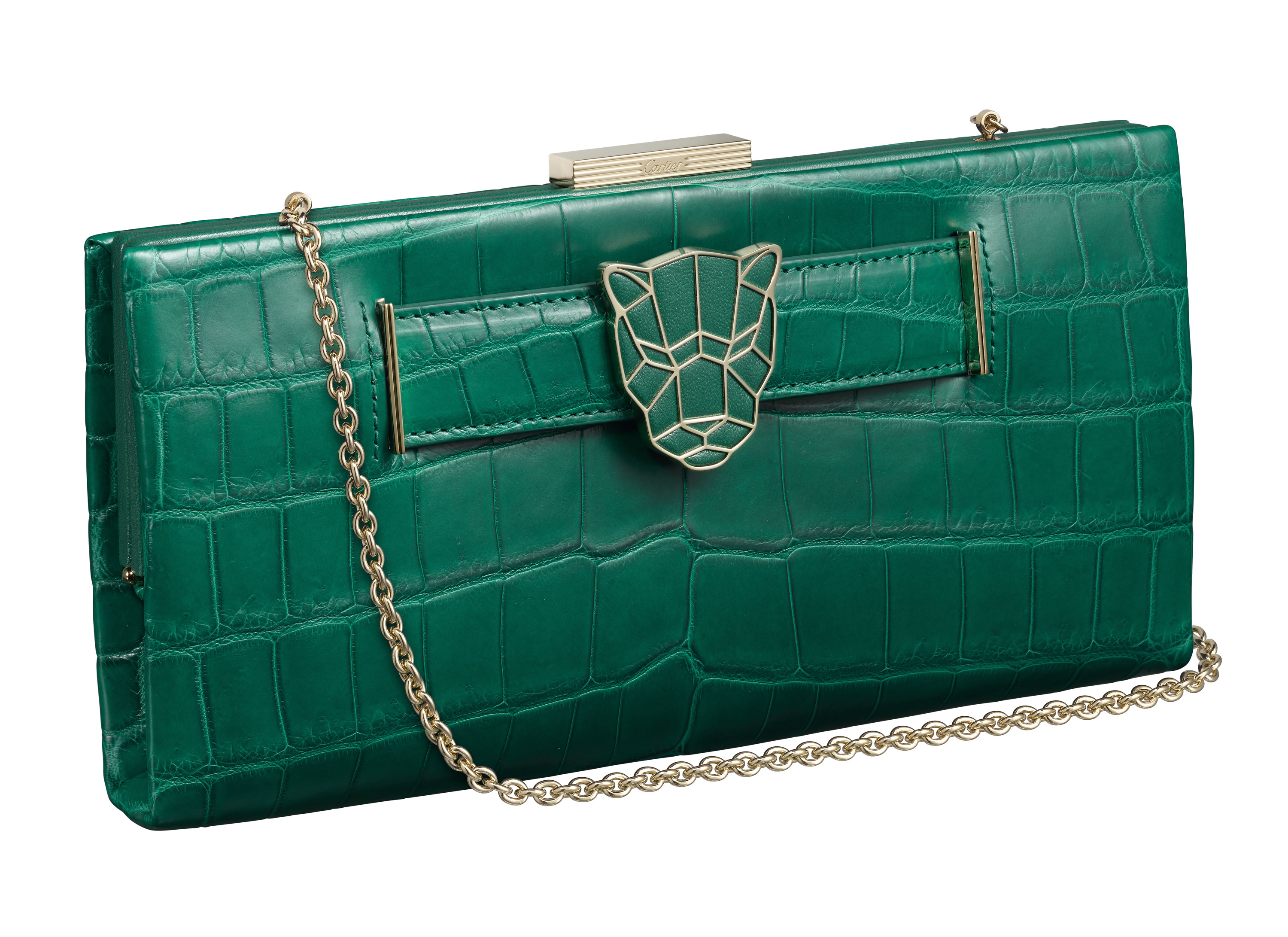 Pochette Panthere Malachite Croco chaine