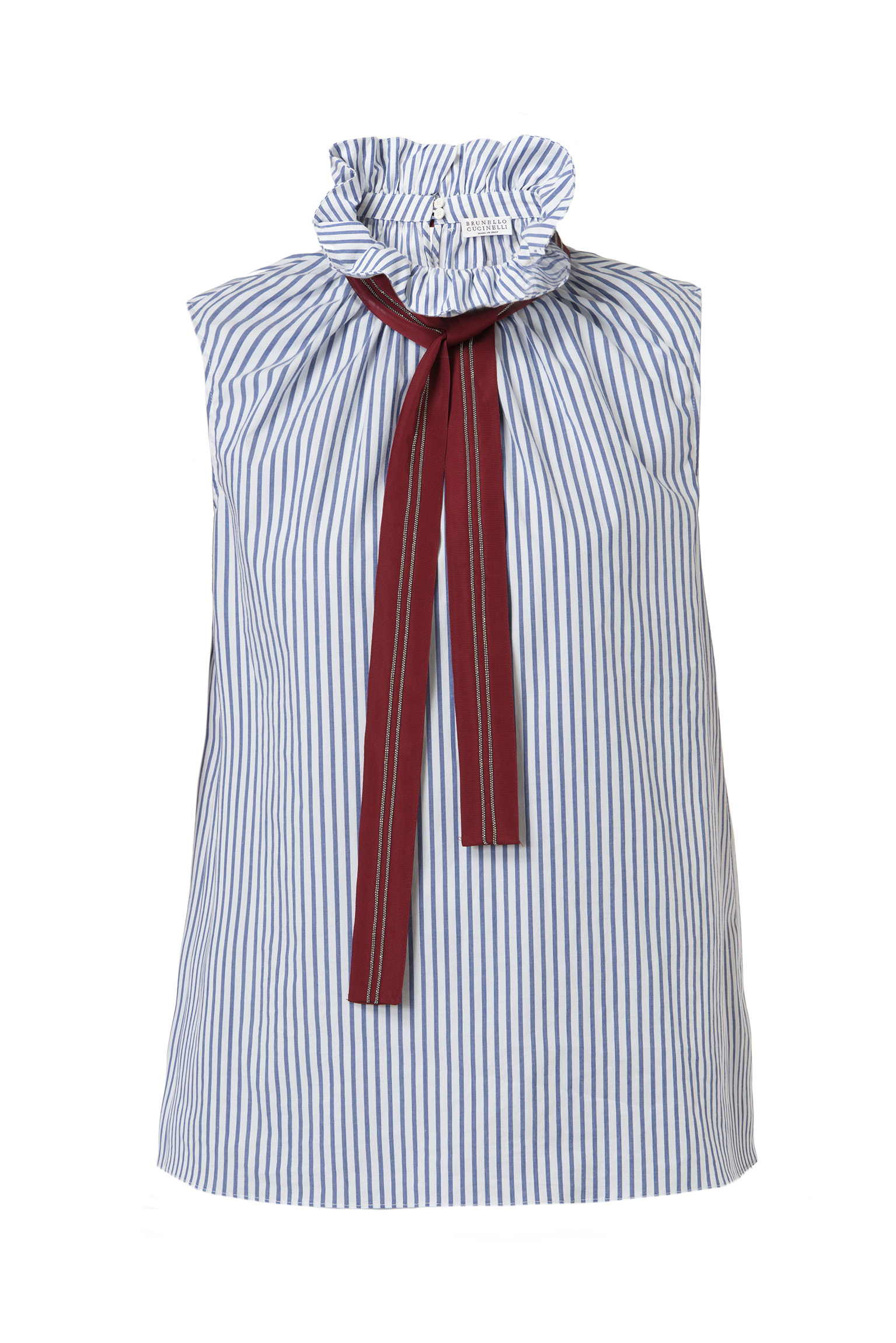 Ruffle collar top in poplin cotton with a grosgrain tie by Brunello Cucinelli
