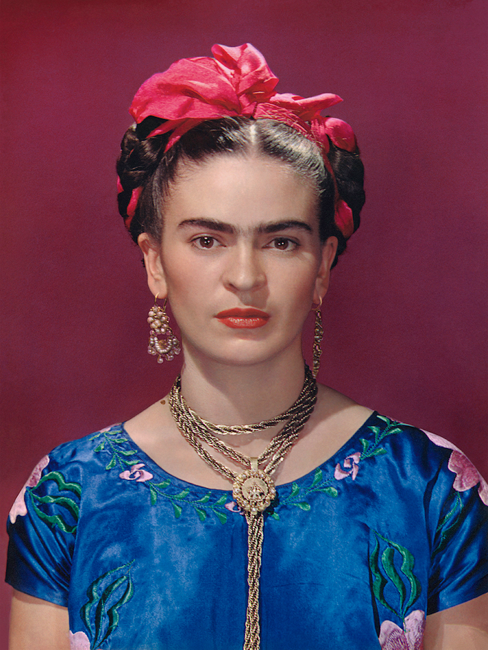 Frida Kahlo in blue satin blouse, 1939. Photograph Nickolas Muray © Nickolas Muray Photo Archives