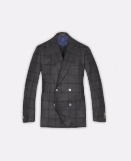 Corneliani, Double-breasted four-button jacket in grey/blue oversized checks