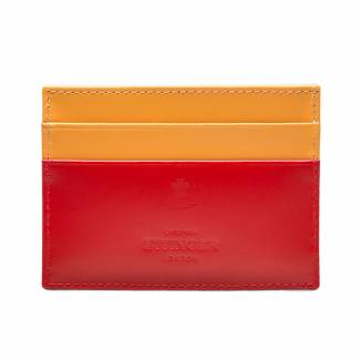 Ettinger Bridle Hide flat credit card case in red and London tan