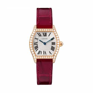Tortue watch, small model, in 18 carat pink gold, with diamonds